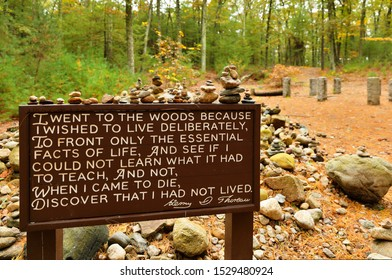 Concord, Massachusetts - October 12 2019: Thoreaus descriptions of living by the shores of Walden Pond. Walden Pond is a lake in Concord, Massachusetts in the United States
