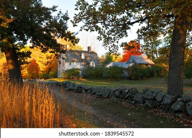 Concord, Massachusetts - October 18, 2020: The Old Manse house on a sunny fall day. The house is a historic manse in Concord, MA, famous for its American historical and literary associations.