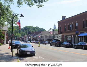 Concord, MA./US - 070619: A view of downtown Concord MA.