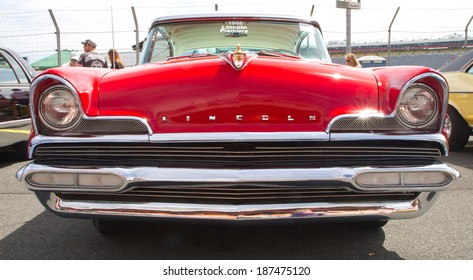 CONCORD, NC -- APRIL 05, 2014:  A 1956 Lincoln Premiere automobile on display at the Charlotte AutoFair classic car show held at Charlotte Motor Speedway.
