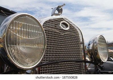 CONCORD, NC -- APRIL 05, 2014:  Closeup of the front grille of a 1931 Ford Model A on display at the Charlotte AutoFair classic car show held at Charlotte Motor Speedway.