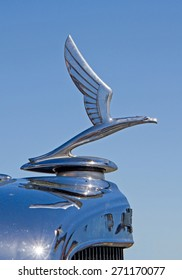 CONCORD, NC -- APRIL 11, 2015:  Hood ornament of a 1933 Chevrolet automobile on display at the Charlotte AutoFair classic car show held at Charlotte Motor Speedway.