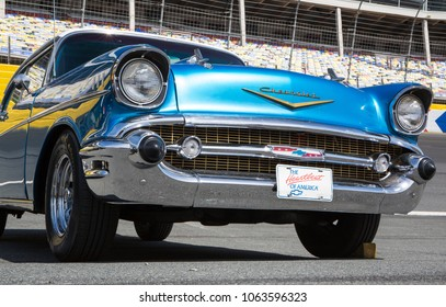 CONCORD, NC - April 5, 2018:  Front closeup of a 1957 Chevy Bel Air automobile on display at the Pennzoil AutoFair Classic Car Show at Charlotte Motor Speedway.