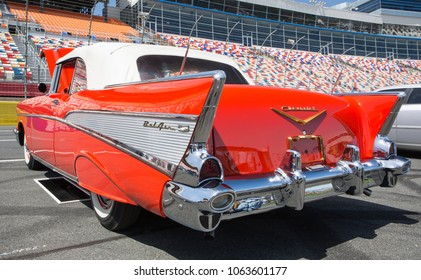 CONCORD, NC - April 5, 2018: A 1957 Chevy Bel Air convertible automobile on display at the Pennzoil AutoFair Classic Car Show at Charlotte Motor Speedway.