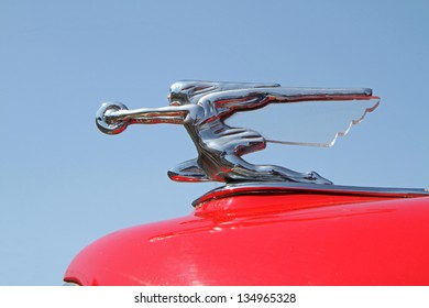 CONCORD, NC - APRIL 6:  Hood ornament of a 1940 Packard automobile on display at the Food Lion Auto Fair classic car show at Charlotte Motor Speedway in Concord, NC, April 6, 2013.