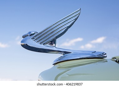 CONCORD, NC - APRIL 8, 2016:  Closeup of a 1935 Chevrolet hood ornament on display at the Pennzoil AutoFair classic car show held at Charlotte Motor Speedway.