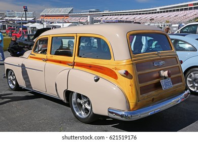 CONCORD, NC - April 8, 2017:  A 1950 Chevy Woody station wagon on display at the Pennzoil AutoFair classic car show held at Charlotte Motor Speedway.