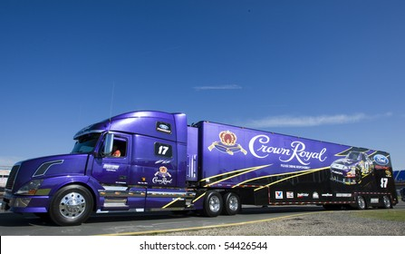 CONCORD, NC - MAY 27:  The Crown Royal hauler pulls in to the track for the Coca-Cola 600 Race at the Charlotte Motor Speedway in Concord, NC on May 27, 2010