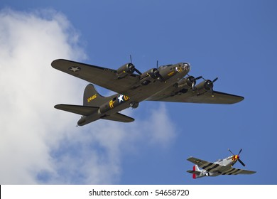 CONCORD, NC - MAY 30:  The replica of the Memphis Belle and the P-51 Old Crow perform a flyover before the Coca-Cola 600 Race at the Charlotte Motor Speedway in Concord, NC on May 30, 2010