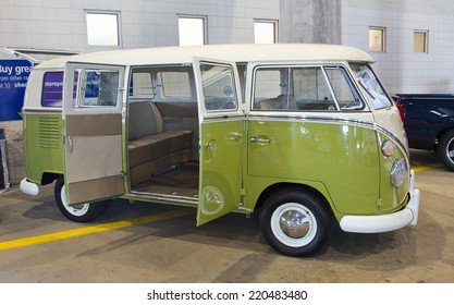 CONCORD, NC -- SEPTEMBER 20, 2014:  A 1966 Volkswagon bus on display at the Charlotte AutoFair classic car show held at Charlotte Motor Speedway.