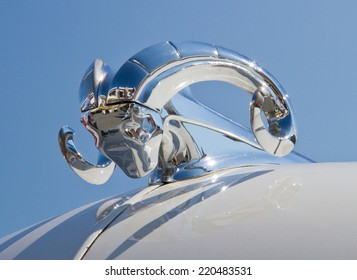 CONCORD, NC -- SEPTEMBER 20, 2014:  Hood ornament of a 1951 Dodge automobile on display at the Charlotte AutoFair classic car show held at Charlotte Motor Speedway.