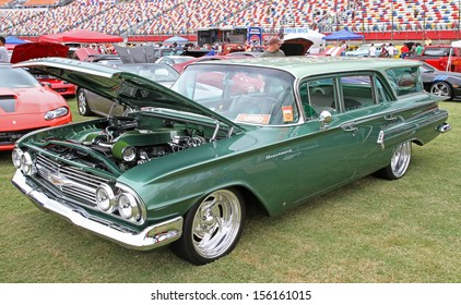 CONCORD, NC - SEPTEMBER 21:  A 1960 Chevy Brookwood station wagon on display at the Charlotte Auto Fair classic car show at Charlotte Motor Speedway in Concord, North Carolina, September 21, 2013.