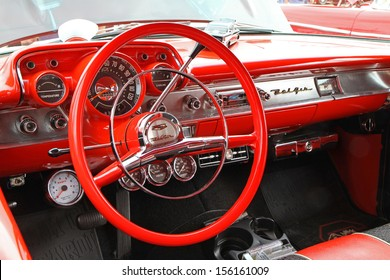 CONCORD, NC - SEPTEMBER 21:  Interior of a 1957 Chevy Bel Air on display at the Charlotte Auto Fair classic car show at Charlotte Motor Speedway in Concord, North Carolina, September 21, 2013.