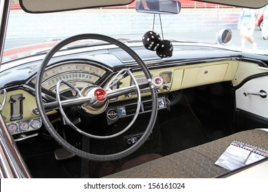 CONCORD, NC - SEPTEMBER 21:  Interior of a 1955 Mercury Monterey on display at the Charlotte Auto Fair classic car show at Charlotte Motor Speedway in Concord, North Carolina, September 21, 2013.