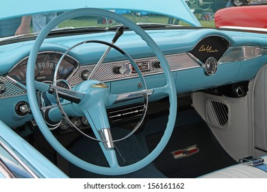 CONCORD, NC - SEPTEMBER 21:  Interior of a 1955 Chevy Bel Air on display at the Charlotte Auto Fair classic car show at Charlotte Motor Speedway in Concord, North Carolina, September 21, 2013.