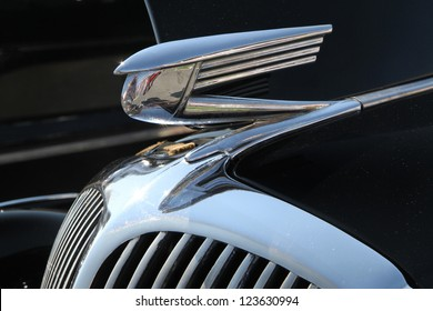 CONCORD, NC - SEPTEMBER 22: Closeup of hood ornament on a 1936 Buick on display at the Charlotte AutoFair classic car show at Charlotte Motor Speedway in Concord, North Carolina, September 22, 2012.