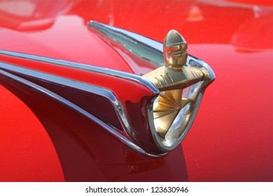 CONCORD, NC - SEPTEMBER 22:  Hood ornament of 1956 Lincoln automobile on display at the Charlotte AutoFair classic car show at Charlotte Motor Speedway in Concord, North Carolina, September 22, 2012.