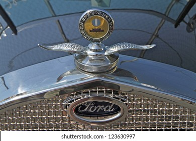 CONCORD, NC - SEPTEMBER 22:  Hood ornament of a 1929 Ford automobile on display at the Charlotte AutoFair classic car show at Charlotte Motor Speedway in Concord, North Carolina, September 22, 2012.