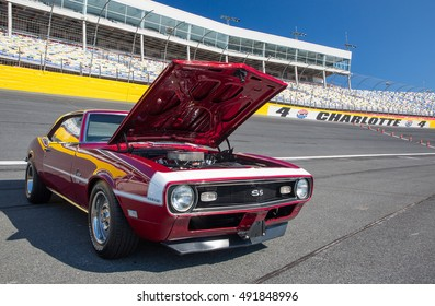 CONCORD, NC - September 24, 2016:  A 1968 Chevrolet Camaro SS 396 automobile on display at the Pennzoil AutoFair classic car show held at Charlotte Motor Speedway.