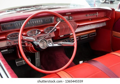CONCORD, NC (USA) - April 6, 2019: Interior of a 1961 Oldsmobile Super 88 automobile on display at the Pennzoil AutoFair Classic Car Show at Charlotte Motor Speedway.