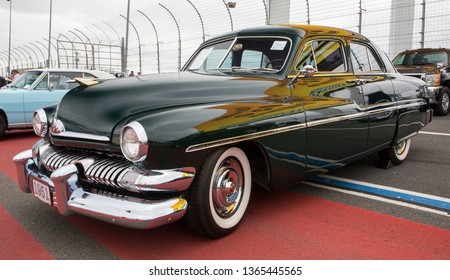 CONCORD, NC (USA) - April 6, 2019:  A 1951 Mercury automobile on display at the Pennzoil AutoFair Classic Car Show at Charlotte Motor Speedway.