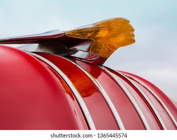 CONCORD, NC (USA) - April 6, 2019:  Closeup of a 1954 Pontiac hood ornament on display at the Pennzoil AutoFair Classic Car Show at Charlotte Motor Speedway.
