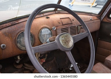 CONCORD, NC (USA) - April 6, 2019:  Interior of an unrestored 1952 Chevrolet Suburban wagon on display at the Pennzoil AutoFair Classic Car Show at Charlotte Motor Speedway.