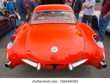 CONCORD, NC (USA) - April 6, 2019: A 1956 Chevrolet Corvette automobile on display at the Pennzoil AutoFair Classic Car Show at Charlotte Motor Speedway.