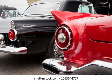 CONCORD, NC (USA) - April 6, 2019:  1955 and 1957 Ford Thunderbird automobiles on display at the Pennzoil AutoFair Classic Car Show at Charlotte Motor Speedway.