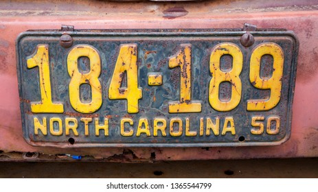 CONCORD, NC (USA) - April 6, 2019:  Antique North Carolina auto license plate on display at the Pennzoil AutoFair Classic Car Show at Charlotte Motor Speedway.