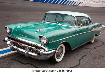 CONCORD, NC (USA) - April 6, 2019:  A 1957 Chevrolet Bel Air automobile on display at the Pennzoil AutoFair Classic Car Show at Charlotte Motor Speedway.
