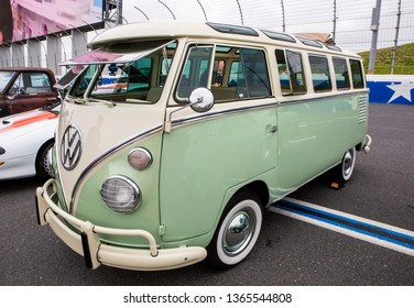 CONCORD, NC (USA) - April 6, 2019:  A 1964 Volkswagen bus on display at the Pennzoil AutoFair Classic Car Show at Charlotte Motor Speedway.