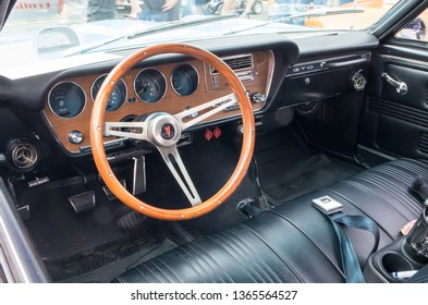 CONCORD, NC (USA) - April 6, 2019:  Interior of a 1967 Pontiac GTO automobile on display at the Pennzoil AutoFair Classic Car Show at Charlotte Motor Speedway.