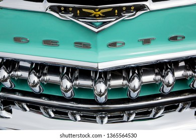 CONCORD, NC (USA) - April 6, 2019:  Closeup of a 1955 DeSoto automobile grill on display at the Pennzoil AutoFair Classic Car Show at Charlotte Motor Speedway.