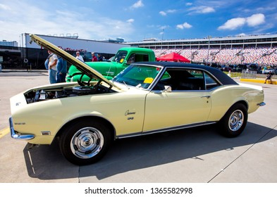 CONCORD, NC (USA) - April 6, 2019: A 1968 Chevrolet Camaro automobile on display at the Pennzoil AutoFair Classic Car Show at Charlotte Motor Speedway.