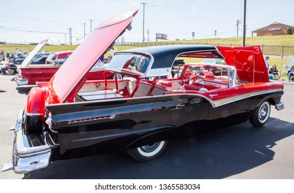 CONCORD, NC (USA) - April 6, 2019:  A 1957 Ford Fairlane Skyliner automobile on display at the Pennzoil AutoFair Classic Car Show at Charlotte Motor Speedway.