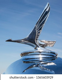 CONCORD, NC (USA) - April 6, 2019: Closeup of a 1931 Studebaker hood ornament on display at the Pennzoil AutoFair Classic Car Show at Charlotte Motor Speedway.