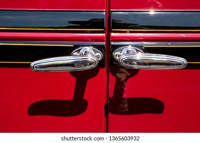 CONCORD, NC (USA) - April 6, 2019: Closeup of suicide door handles on a 1930 Erskine automobile on display at the Pennzoil AutoFair Classic Car Show at Charlotte Motor Speedway.
