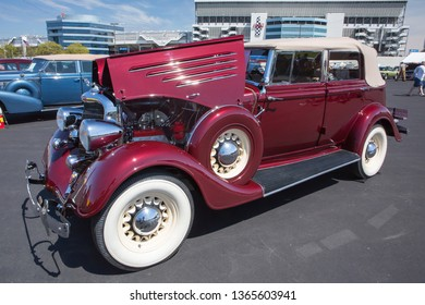 CONCORD, NC (USA) - April 6, 2019:  A 1934 Dodge automobile on display at the Pennzoil AutoFair Classic Car Show at Charlotte Motor Speedway.