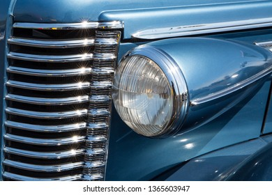 CONCORD, NC (USA) - April 6, 2019:  Closeup of a 1938 Buick Roadmaster automobile on display at the Pennzoil AutoFair Classic Car Show at Charlotte Motor Speedway.