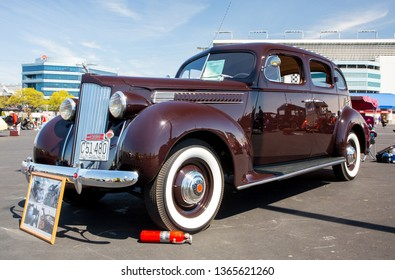 CONCORD, NC (USA) - April 6, 2019:  A 1939 Packard automobile on display at the Pennzoil AutoFair Classic Car Show at Charlotte Motor Speedway.