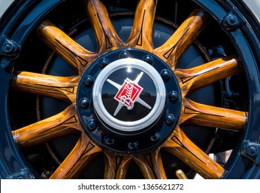 CONCORD, NC (USA) - April 6, 2019:  Closeup of a wooden wheel on a 1929 Buick automobile on display at the Pennzoil AutoFair Classic Car Show at Charlotte Motor Speedway.