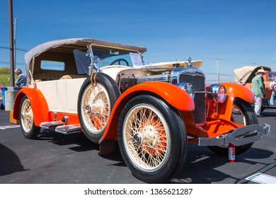 CONCORD, NC (USA) - April 6, 2019:  A 1923 Stutz Touring automobile on display at the Pennzoil AutoFair Classic Car Show at Charlotte Motor Speedway.