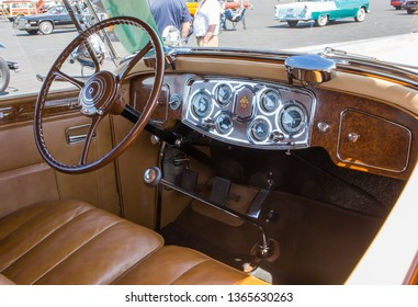 CONCORD, NC (USA) - April 6, 2019:  Interior of a 1934 Packard automobile on display at the Pennzoil AutoFair Classic Car Show at Charlotte Motor Speedway.