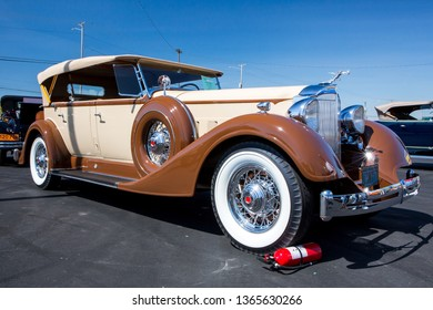 CONCORD, NC (USA) - April 6, 2019:  A 1934 Packard automobile on display at the Pennzoil AutoFair Classic Car Show at Charlotte Motor Speedway.