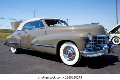 CONCORD, NC (USA) - April 6, 2019:  A 1947 Cadillac automobile on display at the Pennzoil AutoFair Classic Car Show at Charlotte Motor Speedway.
