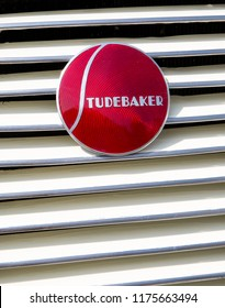 CONCORD, NC (USA) - September 7, 2018: Closeup of a 1937 Studebaker logo on display at the Pennzoil AutoFair Classic Car Show at Charlotte Motor Speedway.