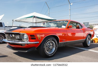 CONCORD, NC (USA) - September 7, 2018: A 1970 Ford Mustang Mach1 automobile on display at the Pennzoil AutoFair Classic Car Show at Charlotte Motor Speedway.