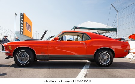 CONCORD, NC (USA) - September 7, 2018:  A 1970 Ford Mustang Mach 1 automobile on display at the Pennzoil AutoFair Classic Car Show at Charlotte Motor Speedway.