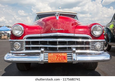 CONCORD, NC (USA) - September 7, 2018:  A 1950 Chrysler New Yorker automobile on display at the Pennzoil AutoFair classic car show held at Charlotte Motor Speedway.